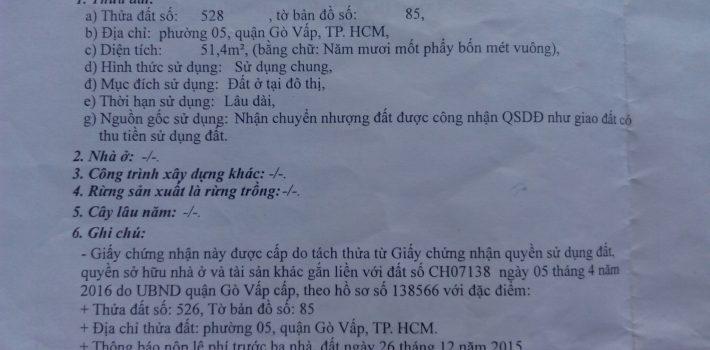 Bán đất HXH số 50 Dương Quảng Hàm Phường 5 giá 2.5 tỷ