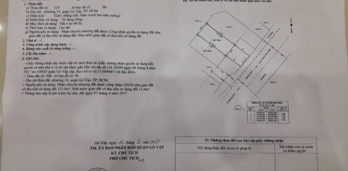 Bán đất đường HXH 78 đường 51 phường 14 giá 3,15 tỷ