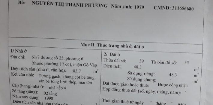 Nhà 1T1L hẻm 350 Lê Đức Thọ F6 giá 1,85 Tỷ (đã bán)