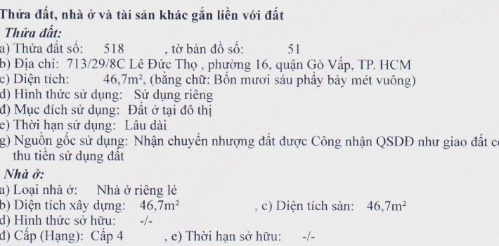 Bán lô đất F16 Lê Đức Thọ giá siêu rẻ 1.85 Tỷ (đã bán)