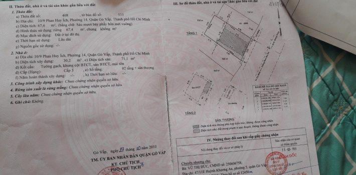 Nhà 1T2L mặt tiền 421 Phan Huy Ích F14 giá 6,3 tỷ