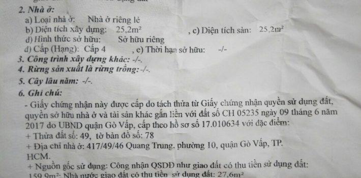 Bán nhà cấp 4 hẻm 417 Quang Trung F10 giá 2.4 tỷ