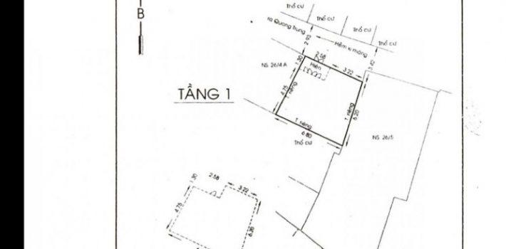 Nhà đẹp 1T1L cách mặt tiền Quang Trung 30m 5.8×7 nở hậu 6.8 giá 3,6 tỷ