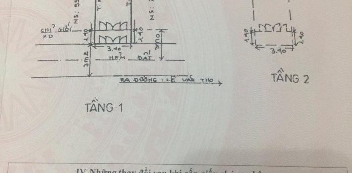 Nhà hẻm 1 trục Lê văn thọ cách MT 50m 1T1L 3.4×13 giá 3.45 tỷ