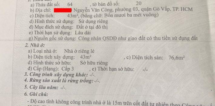 Nhà 1T1L Nguyễn Văn Công P3 chưa qua kinh doanh 3.2 Tỷ