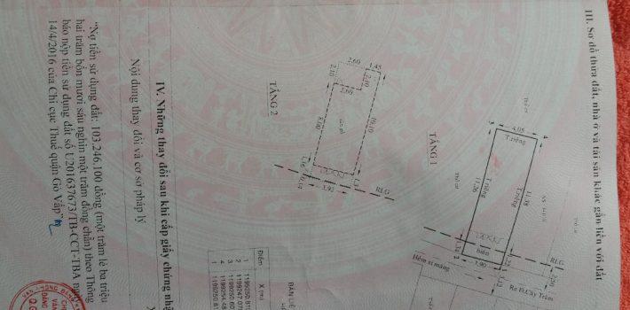 Nhà 1T1L hẻm 341 Cây trâm P8 GV giá 3.6 tỷ