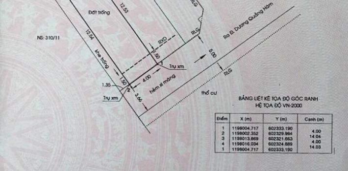 Bán lô đất hẻm xe hơi Dương Quảng Hàm P5 chỉ 4 Tỷ