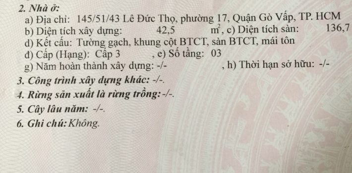 Nhà 1T2L HXH 145 Lê Đức Thọ, P.17 Giá 5.65 tỷ