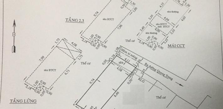 Nhà mới 1T3L hẻm 407 Quang Trung F10 giá 4,85 tỷ